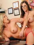 Busty pierced blonde Samantha Saint gets her ass and pussy used by lesbian lady at her office