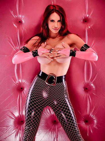 Topless latex loving beautiful fetish model Bianca Beauchamp shows off her huge jugs
