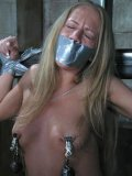 Man has a good time drilling mouth and tight pussy of bound flat chested blonde Kylie Wild