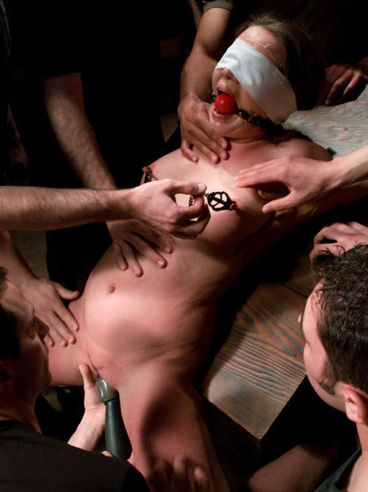 Princess Donna is blindfolded and fucked and cummed on by a whole lotta cock