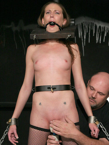 Flat chested tight slave girl Hailey Young gets her helpless bald pussy toyed with no mercy