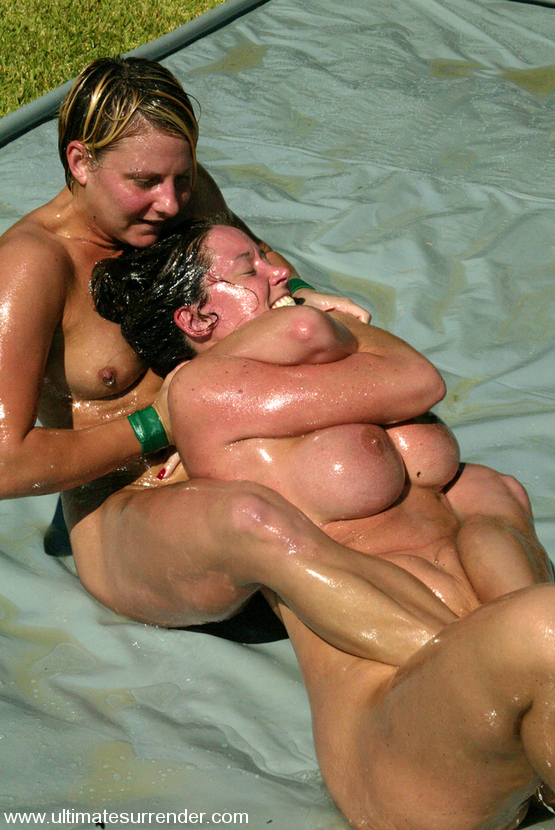 Lesbian spankwire mud wrestle on