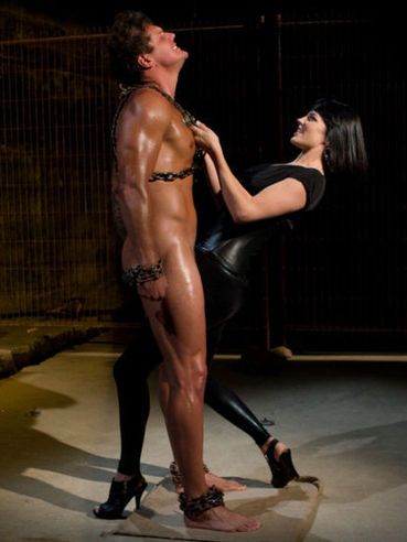 Bobbi Starr's obedient slave is gagged, hogtied and he must eat her tight shaved asshole.