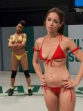 Slim Audrey Rose going against ebony babe Nikki Darling and then getting slit teased in cat fights.