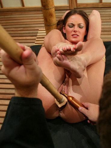 Curious master explores shaved juicy pussy of breasty tied up slave Venus