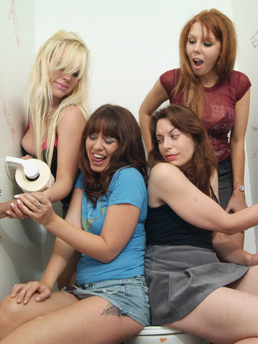 Renee Richards and other ladies give handjob to strangers in the bathroom stall