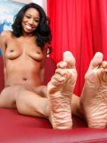 Black babe Jade Nacole gets her sexy feet and shaved pussy fucked by hard dicked white guy