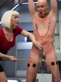 Blonde slut Cherry Torn puts make-up on her bitch and then teases his cock with various sex devices