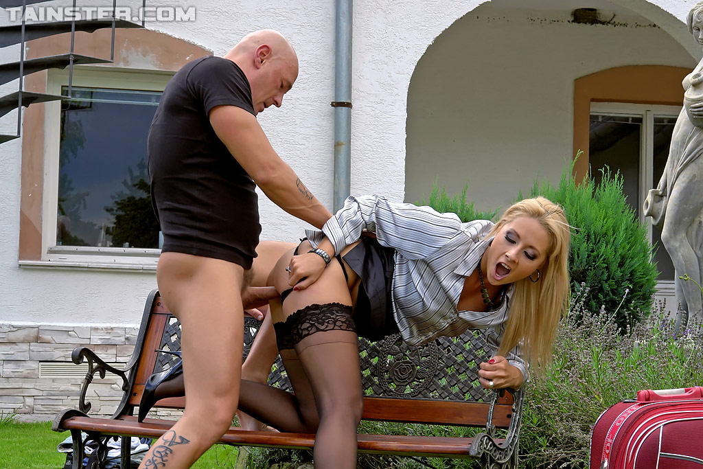 Uncut bending blonde outdoor