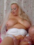 Plump blonde bride Kirsten Halborg in virgin white lingerie gives head and gets nailed