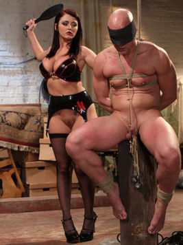 Big tit domina Sophie Dee inserts her foot in Chad Rock's mouth, milks his dick and drills his ass