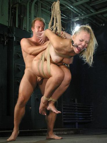 Shaved pussy slave blonde Annette Schwarz gets her butthole filled with thick hard dick