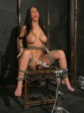 Gorgeous big racked brunette Jayden Jaymes is tied to chair with vibrator between her lovely legs.