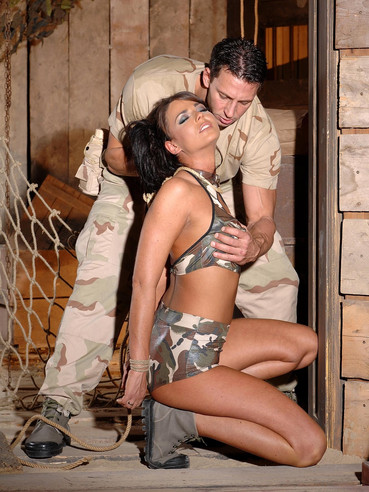 Military babe Simony Diamond with noose around her graceful neck gets spanked on her bare ass