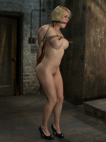 Shaved big titted slave blonde Krissy Lynn getting hogtied and gagged in the dungeon