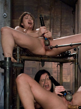 Alyssa Reece and Louisa Lanewood enjoy dildo machines and vibrators in same positions