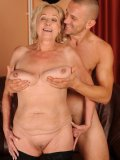 Fair haired granny Sila with big shapeless tits and shaved pussy gets nailed by skinny guy