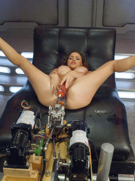 Krissy Lynn gets her shaved hole double penetrated while riding and getting rammed by sex machines.