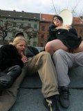 Two crazy german whores Sarah Sun and Alexa ride hard cocks on the roof