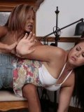 Maliyah Madison pulls down her pink panties and gets her bottom slapped by mom over her knee