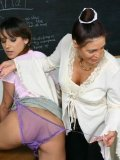 Schoolgirl gets her asshole dildoed by her classmate in front of curious teacher Cheyenne Hunter