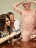 Nude four-eyed older man gets his dick jerked off by Wild Anna and her girls