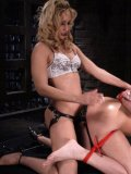 Satine Phoenix gets tied and strapon fucked before taking a bath with her domina Isis Love