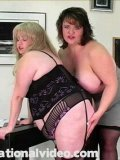 BBW blonde Harley and blonde Lizzy Seaman love spanking each other on their big fat asses